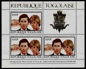 Togo 1105 sheet MNH Royalty, Charles & Diana Wedding