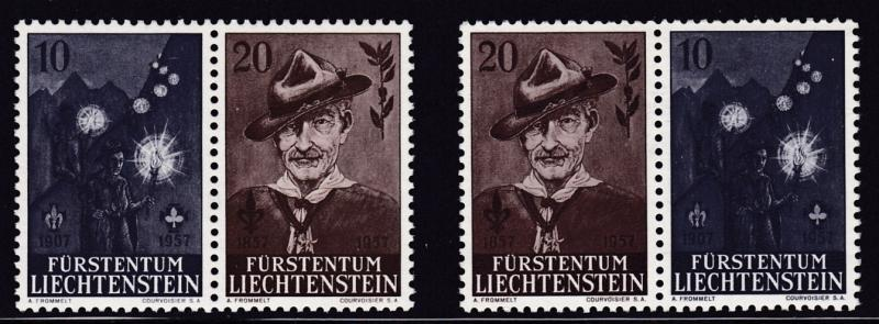 Liechtenstein 1957  Scouts Bayden- Powell Pair Both Positions  VF/NH