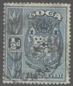 TONGA  Scott 38 Used 1897 coat of arms stamp turtle watermark