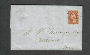 US Sc#10a Pos 86R1i 1852 Cover XF-Sup Stamp!