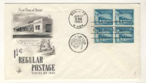 US - 1960 - Scott 1054A FDC - Palace of Governors, Santa Fe NM Block of 4