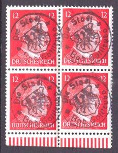 GERMANY 511B IMPRINT SELVAGE BLOCK 4 OG NH U/M VF 1945 LOCAL DIE STADT OVERPRINT
