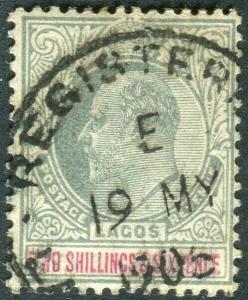 LAGOS-1904 2/6 Green & Carmine.  A good used example Sg 51
