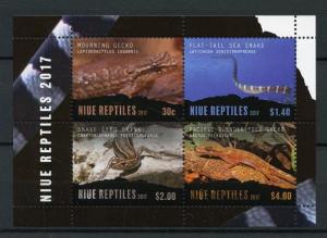 NIUE 2017 MNH Reptiles Geckos Snakes Skinks 4v M/S Lizards Stamps