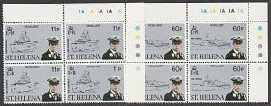 ST HELENA 1984 Royal Visit Prince Andrew set MNH plate blocks of 4.........57689