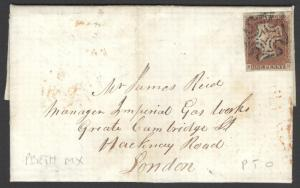 SG8, 1d red-brown, USED, on 1843 COVER. PERTH MX. Cat £600. EB