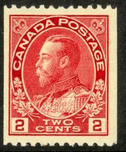 CANADA 1915-24 KGV 2c P.12 Horizontally COIL Portrait Issue Sc 132 MH