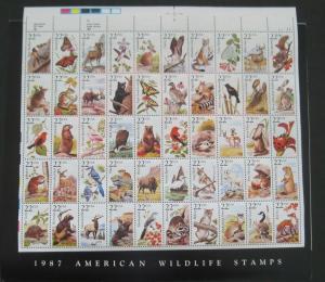 SCOTT # 2335a PLUS COVER - 1987 (22c) AMERICAN WILDLIFE 50 STAMPS UR - MNH