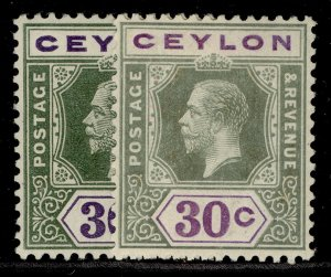 CEYLON GV SG313 + 313a, 30c SHADE VARIETIES, M MINT. Cat £11.