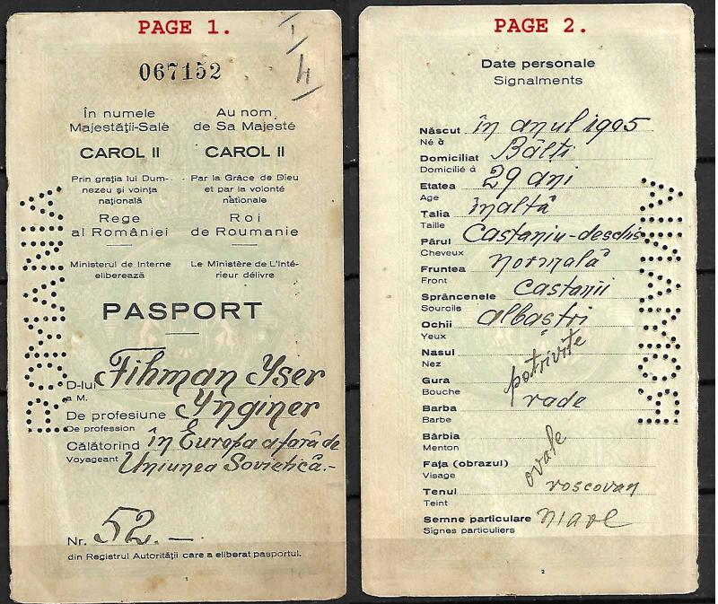 JUDAICA ROMANIA PASSPORT FOR JEWISH IMMIGRANT TO PALESTINE, SEPARATE PAGES, 1934