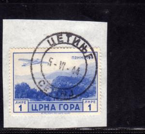 MONTENEGRO 1943 SERTO DELLA MONTAGNA POSTA AEREA AIR MAIL LIRE 1 LIRA USATO S...