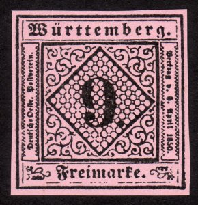 1851, Germany Wurttemberg 9Kr, MNG, Sc 5, FORGERY / REPRINT