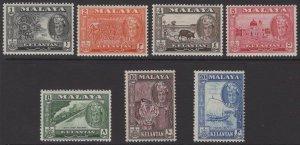 MALAYA KELANTAN SG96/102 1961-3 DEFINITIVE SET MNH