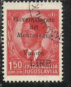 MONTENEGRO 1942 SOPRASTAMPA NERA BLACK OVERPRINTED VALORE LIRE 1,50 D USATO U...