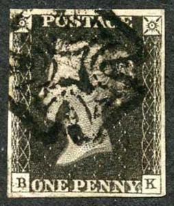 Penny Black (BK) Plate 6 Very Fine Manchester Maltese Cross Cat 1400 pounds