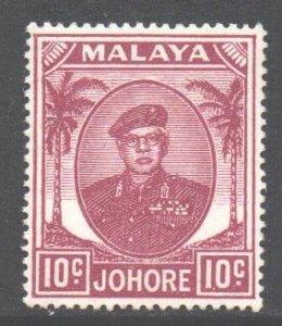 Malaya Johore Scott 138 - SG139, 1949 Sultan 10c MH*