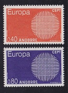Andorra French  #196-197  MNH  1970     Europa