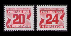 CANADA 1977 20c + 24c, #J38 #J39 RED, 2 VF MNH POSTAGE DUE STAMPS
