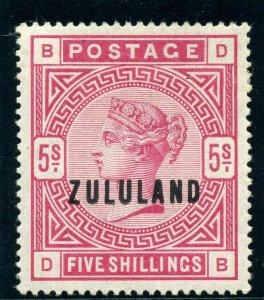 Zululand 1892 QV 5s rose MLH. SG 11. Sc 11.