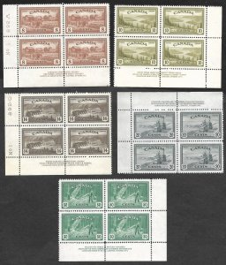 Doyle's_Stamps: Scott #268** to #272** Canadian 1946 NH Plate Block Set