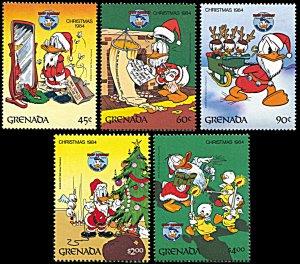 Grenada 1242-1246, MNH, Disney Christmas 1984, Donald Duck