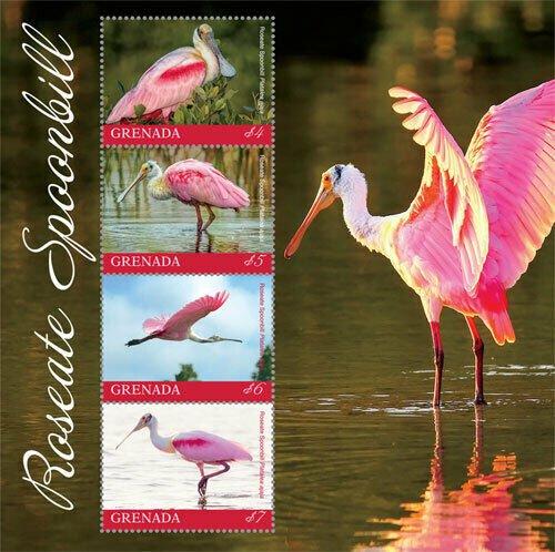 2019/09- GRENADA - BIRDS ROSEATE SPOONBILL  4V complet set    MNH ** T