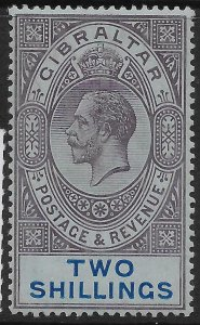 GIBRALTAR SG82 1912 2/- DULL PURPLE & BLUE ON BLUE MTD MINT
