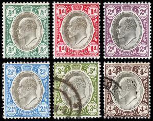Transvaal - British Occupation Scott 252-257 (1902-03) M/U H VF, CV $23.00 B