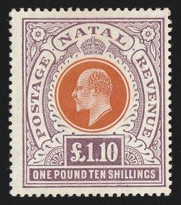 NATAL 1904 KEVII £1/10/-, wmk mult crown. Rare top value.