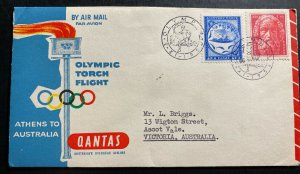 1956 Athens Greece Olympic Torch Flight Airmail Cover FDC To Australia Qantas