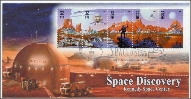AO 3238-3242, 1998, Space Discovery, FDC, Future Space, Add On Cachet, Oversize