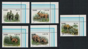 Zaire Wild Animals 5v Top Right Corners SG#1412-1416 SC#1403-1407 MI#1079-1083
