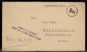 South Africa 1944 Germany WWII Internee POW Baviaanspoort Pretoria Cover 90599