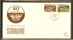 1984 - Rep. Surinam FDC E080 - Transport - Airplanes - 40 years ICAO - Civil ...