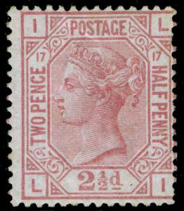 SG141, 2½d rosy mauve plate 17, LH MINT. Cat £1700. LI