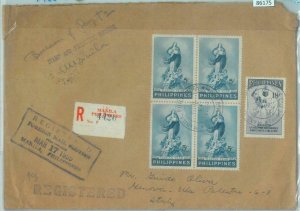 86175 - PHILIPPINES - POSTAL HISTORY - REGISTERED COVER to ITALY 1955 Religion