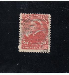 CANADA # 46 FVF-USED 20cts 1893 QUEEN VICTORIA / VERMILION CAT VALUE $100