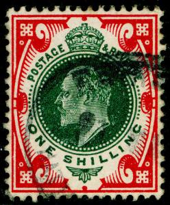 SG314, 1s green & carmine, USED. Cat £35.