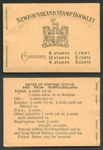 NEWFOUNDLAND SGSB2b 1932 40c booklet black on buff cover Very Fine and Scarce
