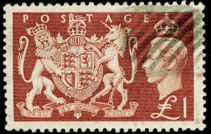 SG512, £1 brown, FINE USED. Cat £18.