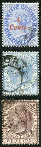 Straits Settlements SG73/5 4c on 5c 8c on 12c blue and 8c on 12c brown-purple