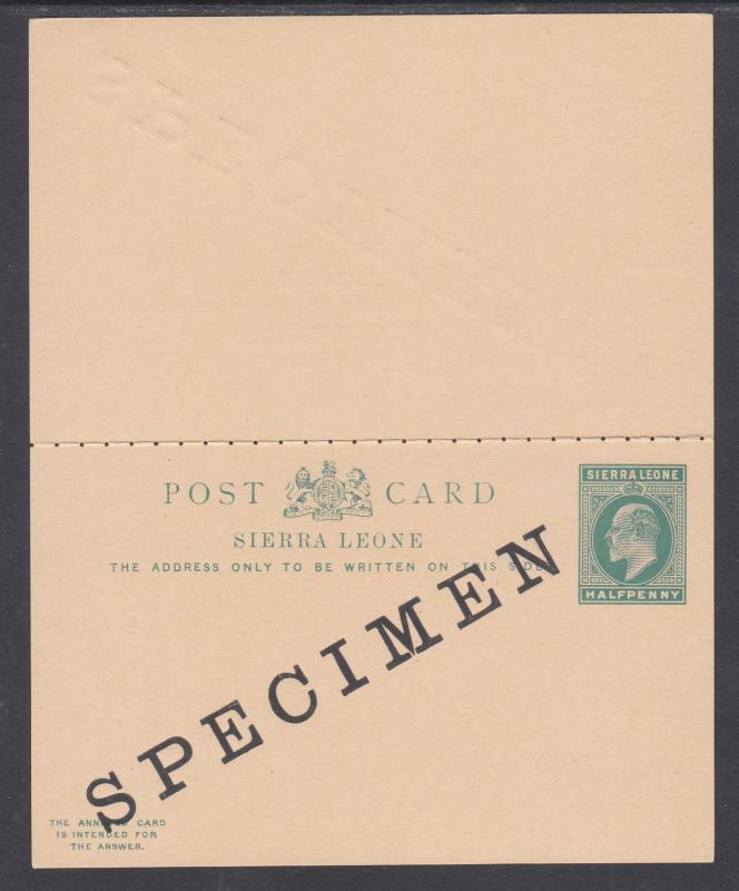 Sierra Leone H&G 9 mint 1902 ½p SPECIMEN Postal Reply Double Card, VF