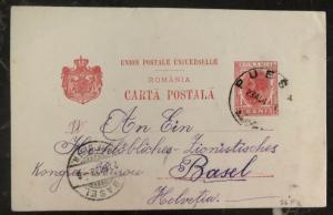 1903 Romania PS Postcard Cover To Zionist Congress Basel switzerland
