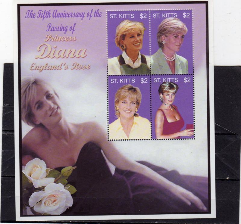 St Kitts Diana' Memorial MNH