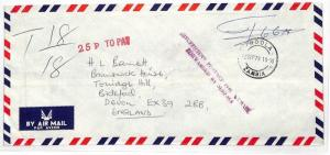 Zambia UNPAID AIRMAIL *Ndola* Stampless Cover *25p TO PAY* GB PTS 1978 HH227