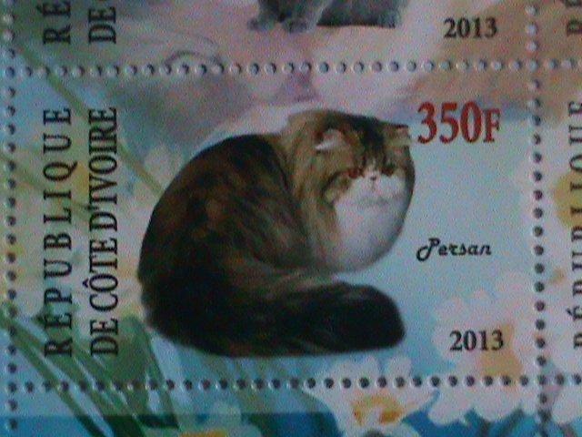 2013 REPUBLIC OF IVORY COAST-COLORFUL LOVELY CATS MINI SHEET