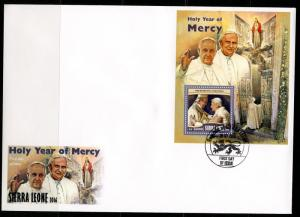 SIERRA LEONE  2016 HOLY YEAR OF MERCY POPES BENEDICT XVI & FRANCIS S/SHEET FDC