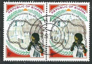 Biafra 23 Pair Full Cancel LH VF 1969 SCV $24.00