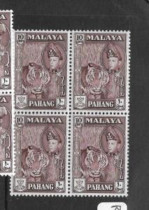 MALAYA PAHANG (P0102B) SULTAN 10C  SG  81 BL OF 4  MNH