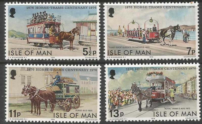 ISLE  OF MAN 82-85  MNH,  DOUGLAS HORSE TRAMS, CENTENARY